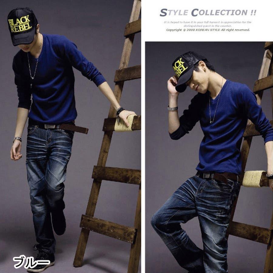 トップス ロングTシャツ ロンT メンズ メンズファッション 長袖 長袖Tシャツ シンプル ベーシック 無地 無地ロンT Vネック 3