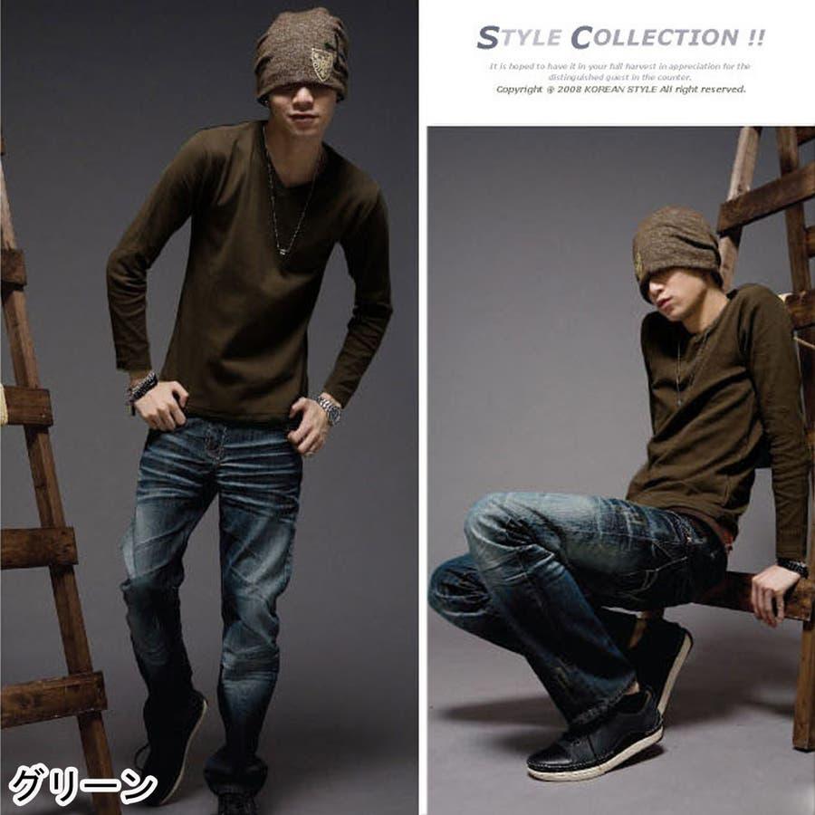 トップス ロングTシャツ ロンT メンズ メンズファッション 長袖 長袖Tシャツ シンプル ベーシック 無地 無地ロンT Vネック 4