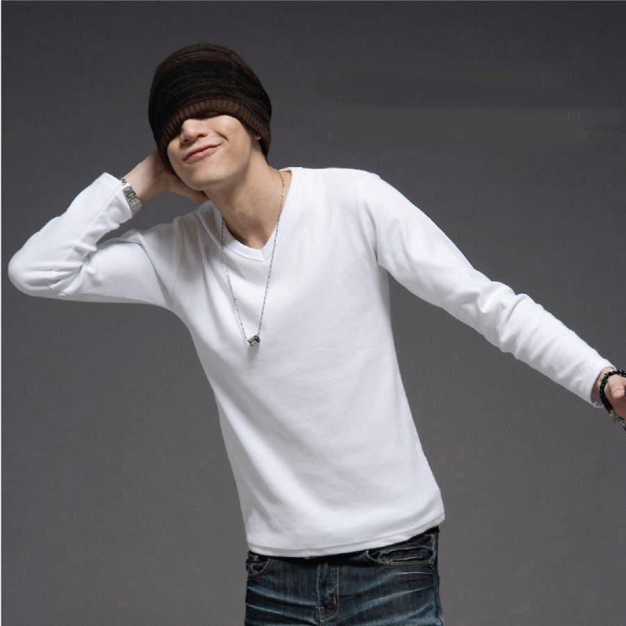 トップス ロングTシャツ ロンT メンズ メンズファッション 長袖 長袖Tシャツ シンプル ベーシック 無地 無地ロンT Vネック 5