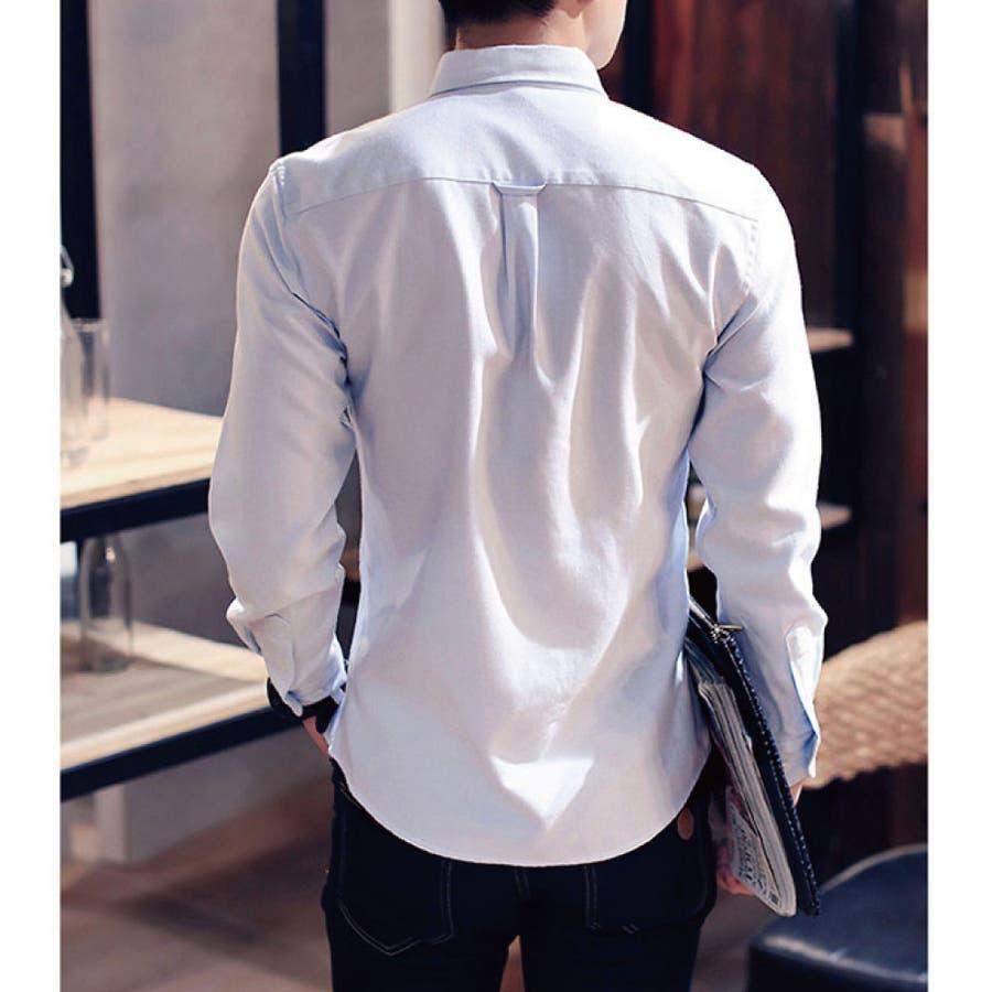 シャツ メンズ 長袖シャツ カジュアルシャツ トップス 長袖 無地 ボタンダウン シャツ メンズファッション 6