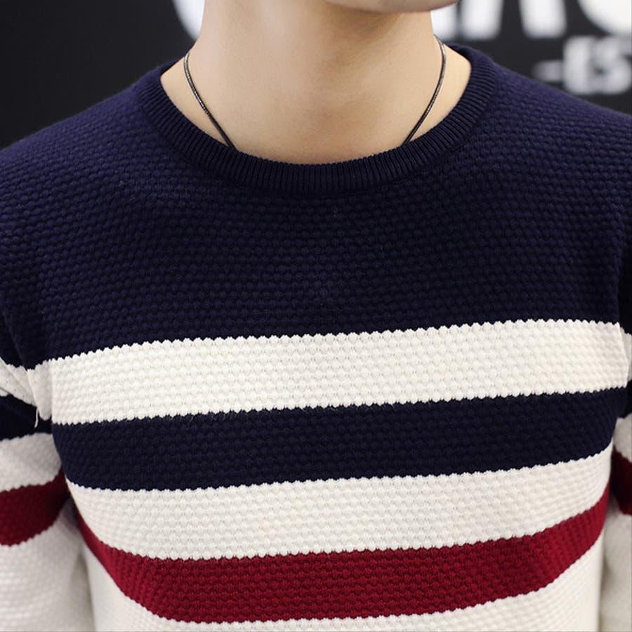 トップス ニット セーター 長袖ニット 長袖 デザイン デザインニット メンズ メンズファッション マルネック 柄 柄ニット 5