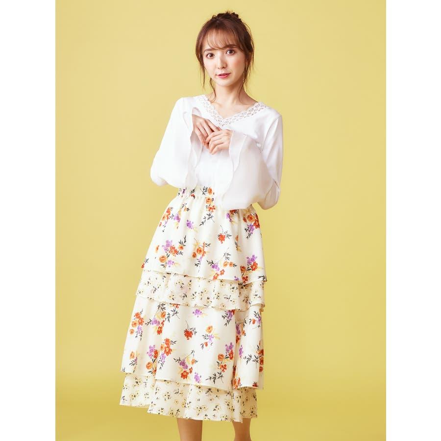 f47410bbd99e0 オリジナルMIXフラワーティアードスカート 品番:ROSW0002947 |MIIA ...
