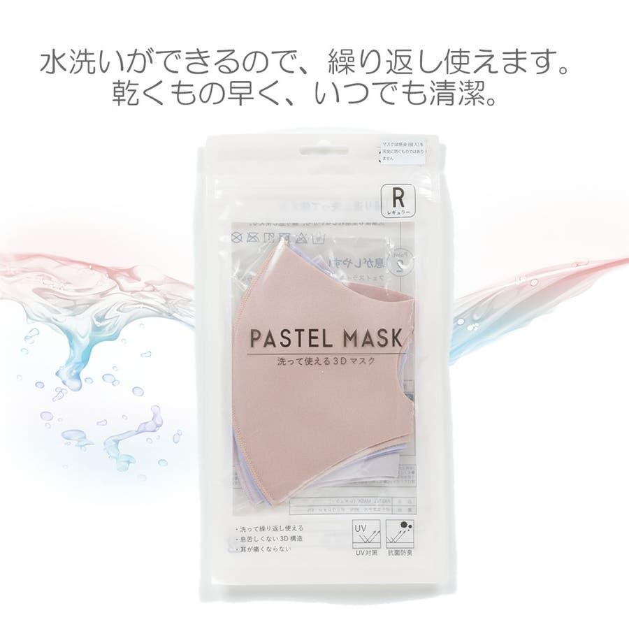 パステルマスク 洗って使える3Dデザインマスク3枚入り 2