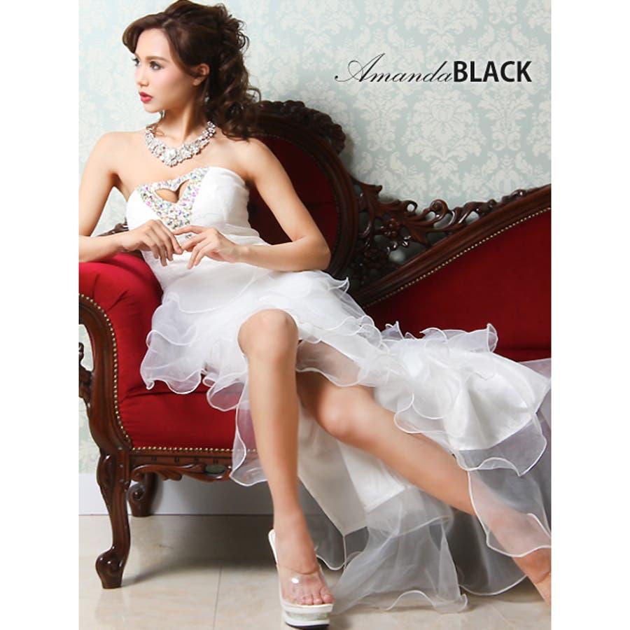 目指せおしゃれ上級者 amanda BLACK アマンダブラック  M.L 谷間魅せ フリルテール中ミニロングドレス  キャバ ドレス ナイトドレスロング パーティー キャバクラ シフォン ワンピース 豪雄