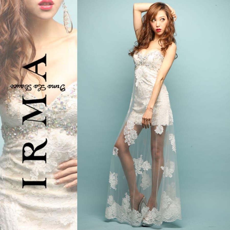【IRMA/イルマ】フラワーシースルーベアトップロングドレス【ドレス ロング ロングドレス