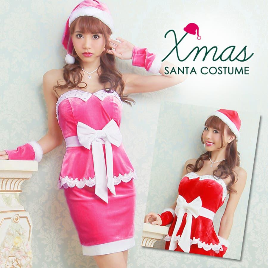 6bae33b5c4c99 ☆X masドレス☆ 3点SET  全2色 サンタ風ペプラムベアミニドレス ...