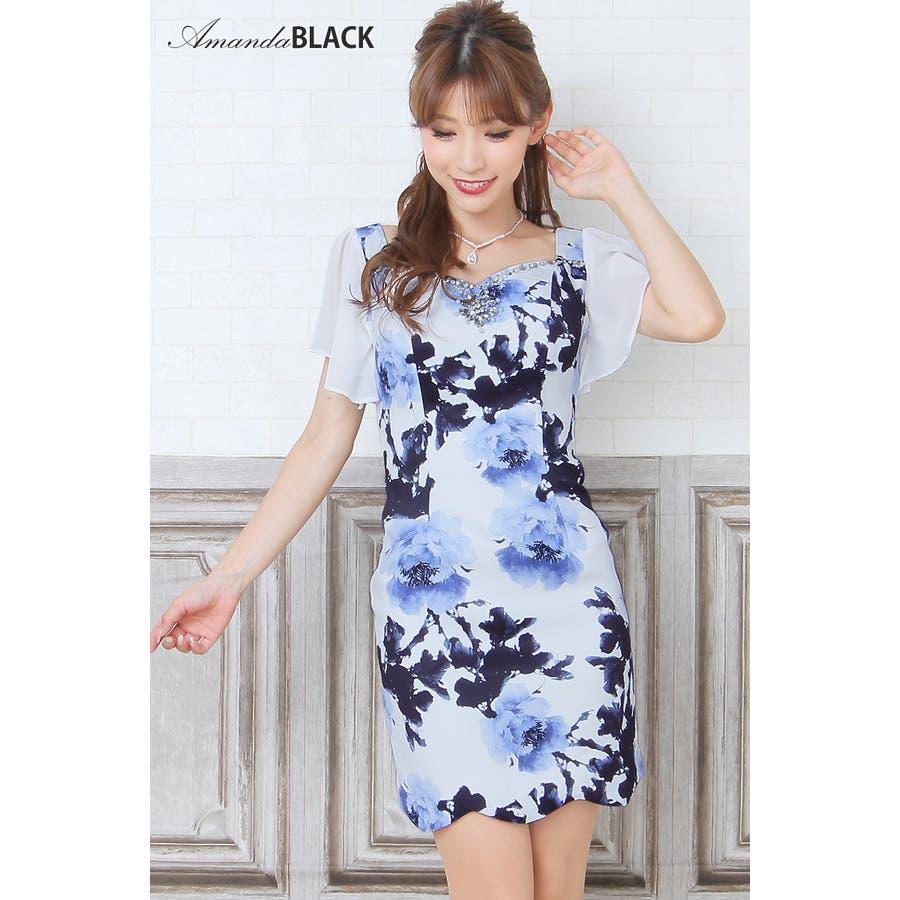 889b996a6af6f amanda BLACK  S.M シフォン袖×スカラップ花柄タイトミニドレス ...