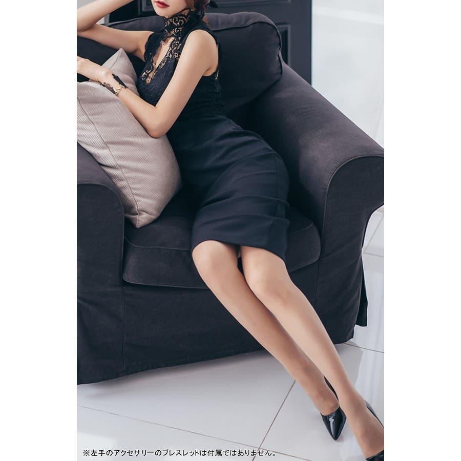 【amanda BLACK】【S.M.L】胸元オープンレースドレスワンピ 2