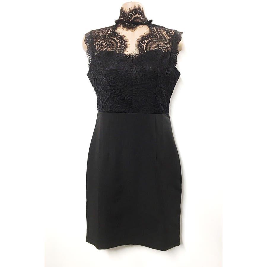 【amanda BLACK】【S.M.L】胸元オープンレースドレスワンピ 5
