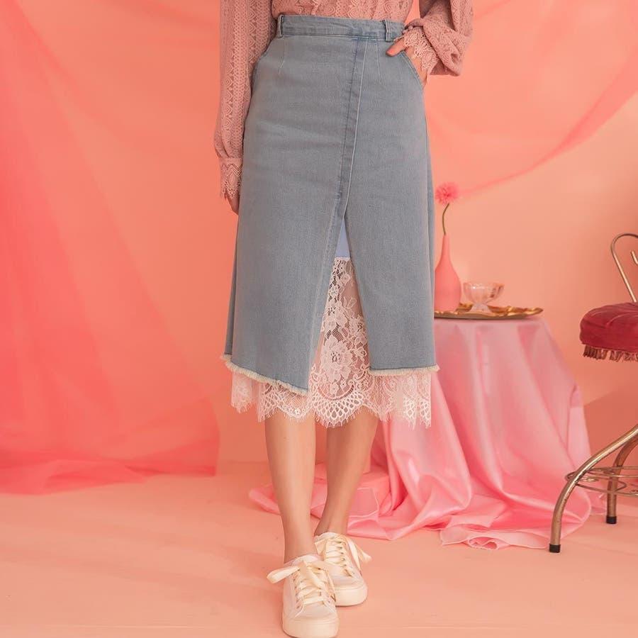 レディースファッション通販【Ruby'sCollection】デニム巻きスカート風ロングスカート/レース/デニムスカート/テニスカ/無地/着回し/おしゃれ/大人かわいい/ 1