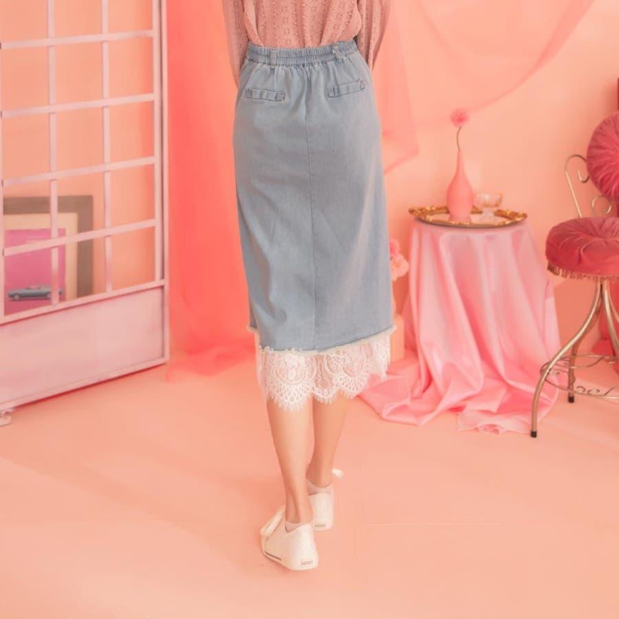 レディースファッション通販【Ruby'sCollection】デニム巻きスカート風ロングスカート/レース/デニムスカート/テニスカ/無地/着回し/おしゃれ/大人かわいい/ 7