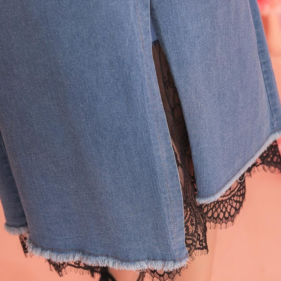 レディースファッション通販【Ruby'sCollection】デニム巻きスカート風ロングスカート/レース/デニムスカート/テニスカ/無地/着回し/おしゃれ/大人かわいい/ 22