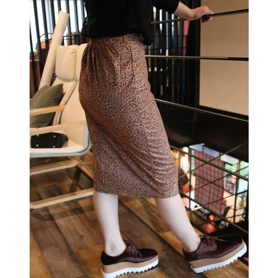 レオパードペンシルスカート 韓国ファッション レディース ミディアム ミディ丈 ロング タイト スリット 5
