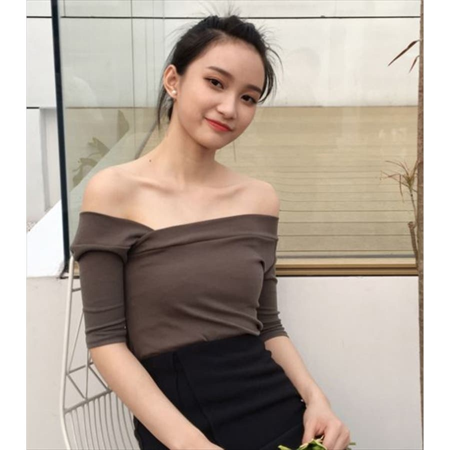 526551c1a2b8 ワンショルダー トップス 韓国ファッション カットソー オフショルダー ...