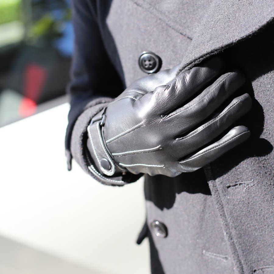 手袋 メンズ レザー 防寒 ビジネス 本革手袋 グローブ 皮 革 手袋 ブラック 黒 通勤 通学 ギフト 父の日バレンタインクリスマス プレゼント ns-k1302 2