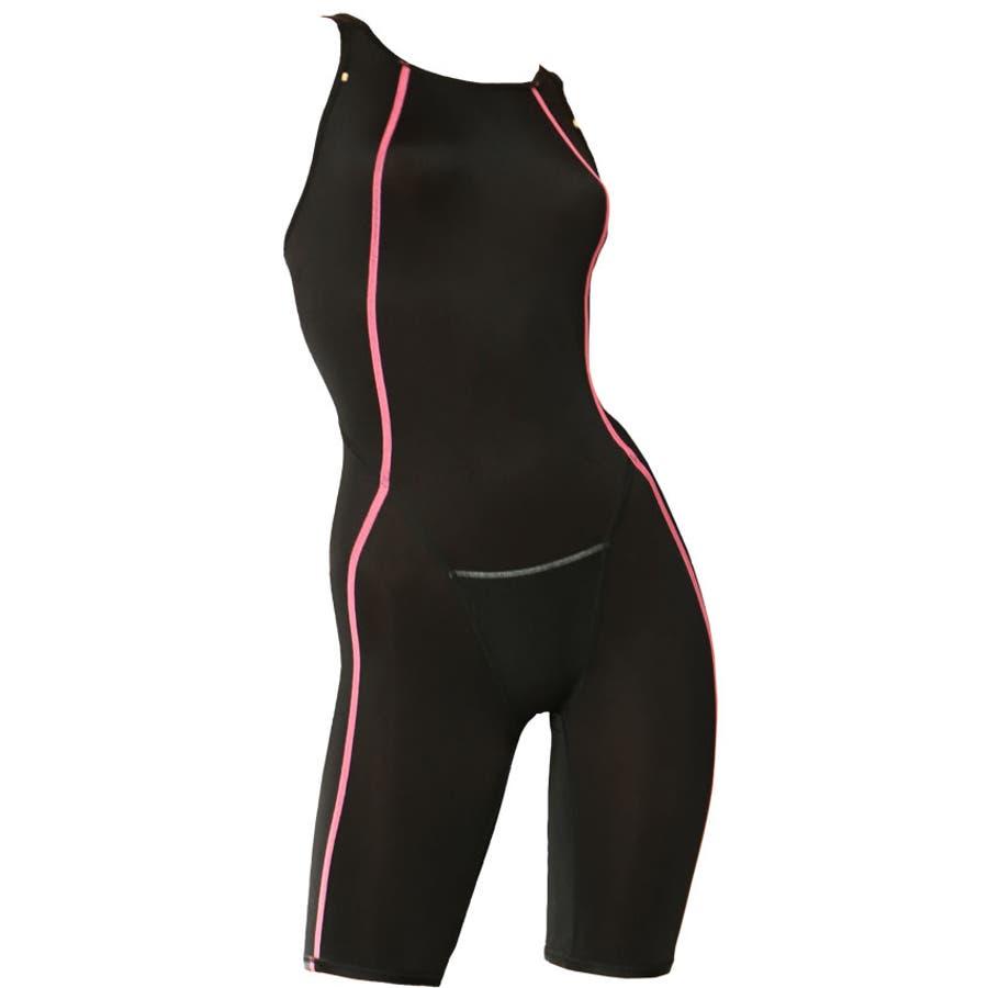 競泳水着 ジュニア女子 レディース 練習用 競泳 ジュニア フィットネス 水着 オールインワン ハーフスパッツ ns-3026 4