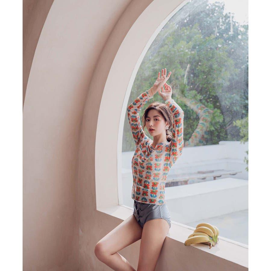 【2色】ハイウエスト ロングTシャツ付 ビキニ 水着 2019新作(3P) 2