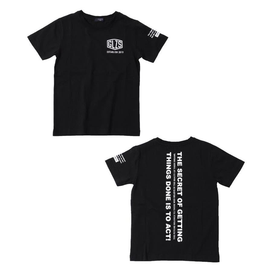 【GLAZOS】天竺・バックプリント縦ロゴ半袖Tシャツ 子供服 男の子 カジュアル アメカジ キッズ ジュニア ぷりんと 半そで 半Tモノトーン 130cm 140cm 150cm 160cm 170cm グラソス 新作 5