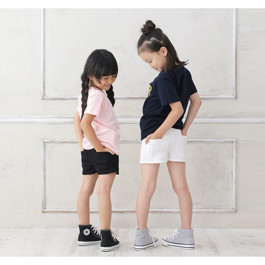 【S&H】ショートパンツ 子供服 女の子 カジュアル アメカジ キッズ ジュニア 100cm 110cm 120cm130cm140cm ショートパンツ ショーパン 短パン ストレッチ シロ クロ エスアンドエイチ 新作 4