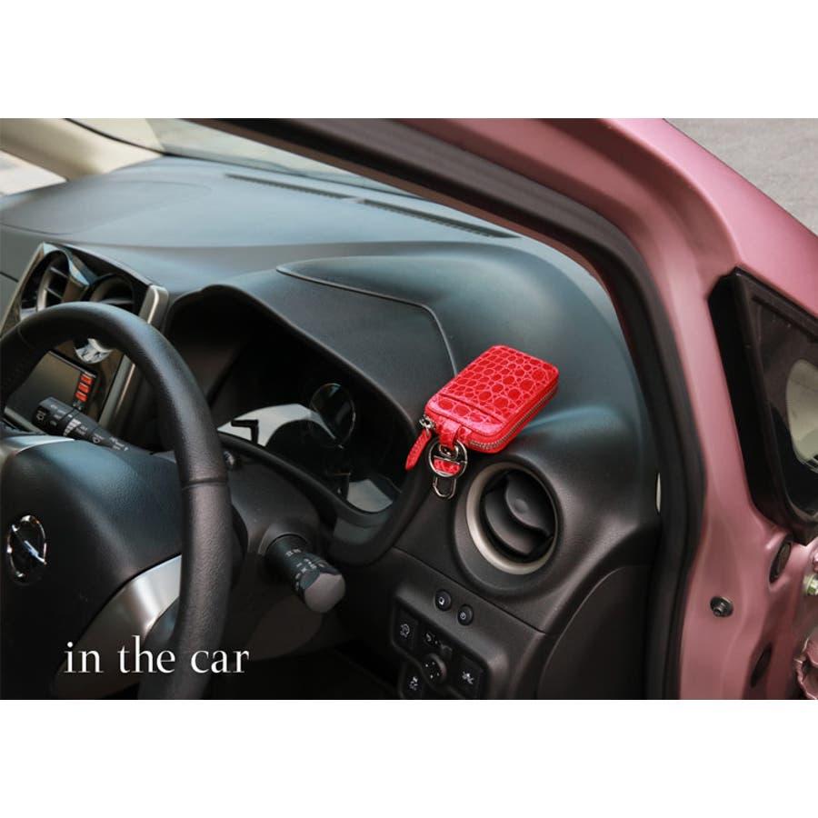 クロコダイル スマートキーケース カバー アウトポケット付き シャイニング 加工 ヘンローン レディース 全20色 10