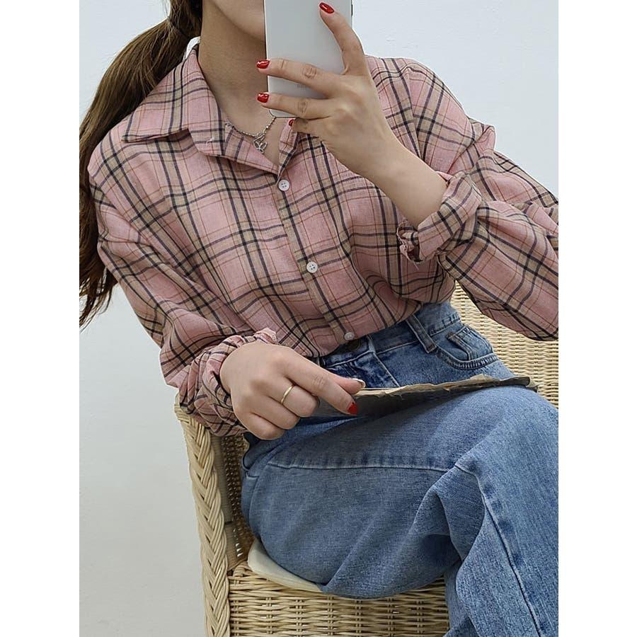 シャツブラウス レディース チェック柄 シャツ 長袖 トップス 韓国ファッション チェック柄 シャツレディース長袖シャツブラウスレディース チェック柄 長袖 87
