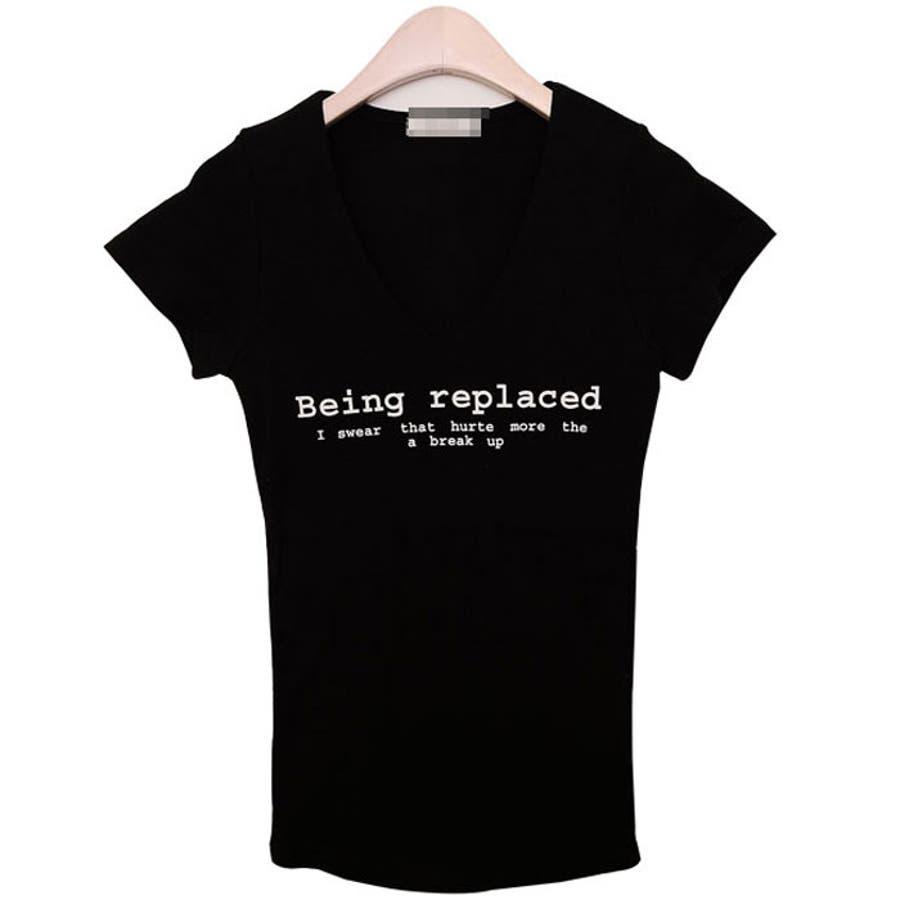 VネックスリムTシャツ★ 半袖Tシャツ レディー... ネックスリムTシャツ★ 半袖Tシャツ レ