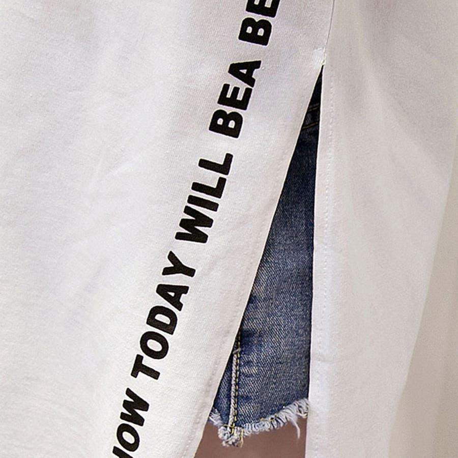 ロゴ ワンピース 半袖 サイドスリットワンピース レディース 半袖 サイドスリット tシャツワンピース tシャツワンピ 半袖ロゴ入りワンピース tシャツ ワンピース opjp0470 6