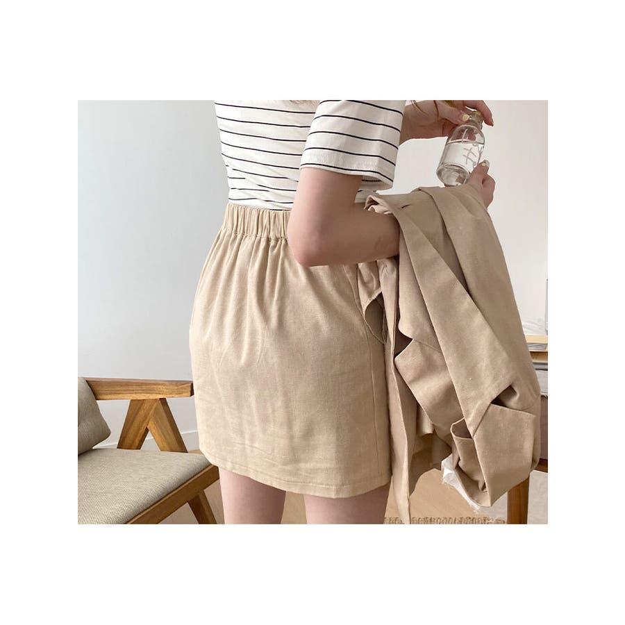 ショートパンツ レディース ラップスカート風 パンツ リネン パンツ 巻きスカート 短パン レディース 夏 半ズボン涼しいパンツリネン パンツ レディース ラップス 4