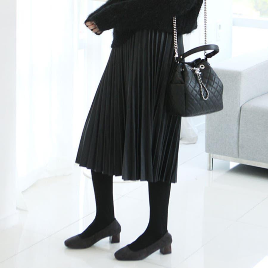プリーツレザースカート ロング スカート プリーツスカート プリーツスカート黒 プリーツスカート ロング 秋冬 韓国 オルチャン