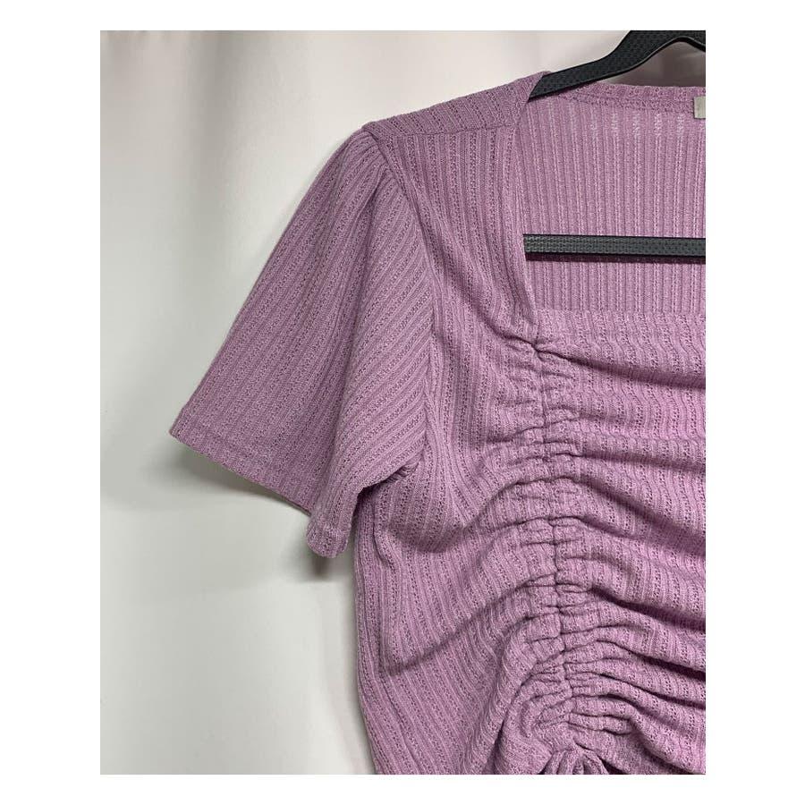 トップス レディース 半袖 スクエアネック カットソー tシャツ 夏 トップス レディース きれいめ ギャザー トップス半袖カットソー夏 カットソー tシャツ スクエア 5
