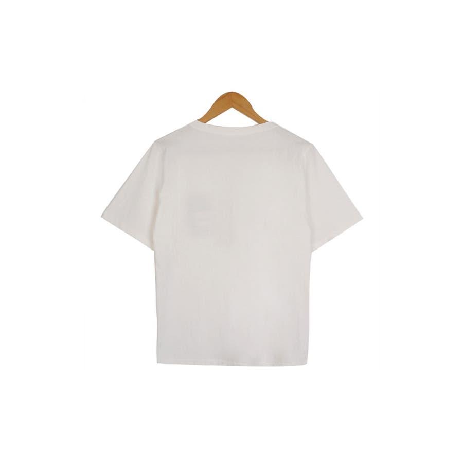 トップス レディース 半袖 刺繍 ロゴtシャツ レディース クルーネック 半袖 トップス レディース 刺しゅうカットソー半袖tシャツレディース tシャツ 韓国 半袖 4