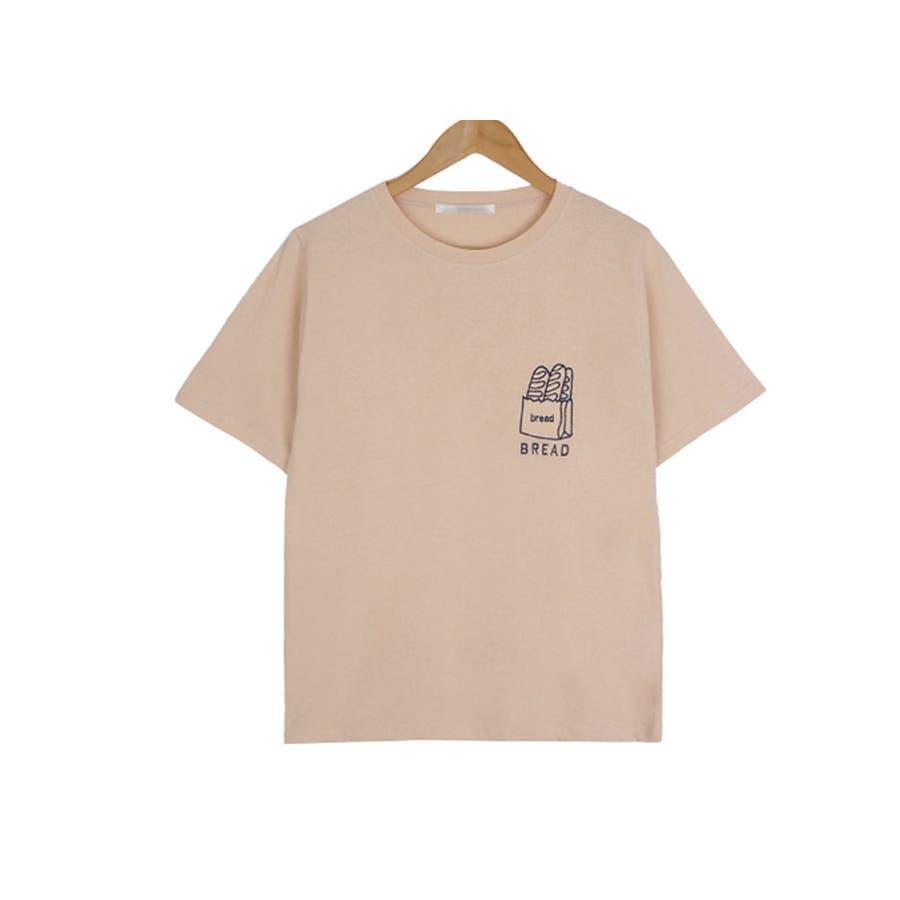 トップス レディース 半袖 刺繍 ロゴtシャツ レディース クルーネック 半袖 トップス レディース 刺しゅうカットソー半袖tシャツレディース tシャツ 韓国 半袖 41