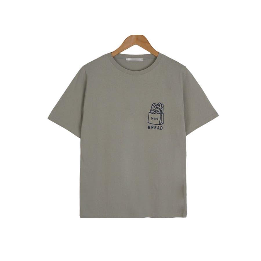 トップス レディース 半袖 刺繍 ロゴtシャツ レディース クルーネック 半袖 トップス レディース 刺しゅうカットソー半袖tシャツレディース tシャツ 韓国 半袖 47
