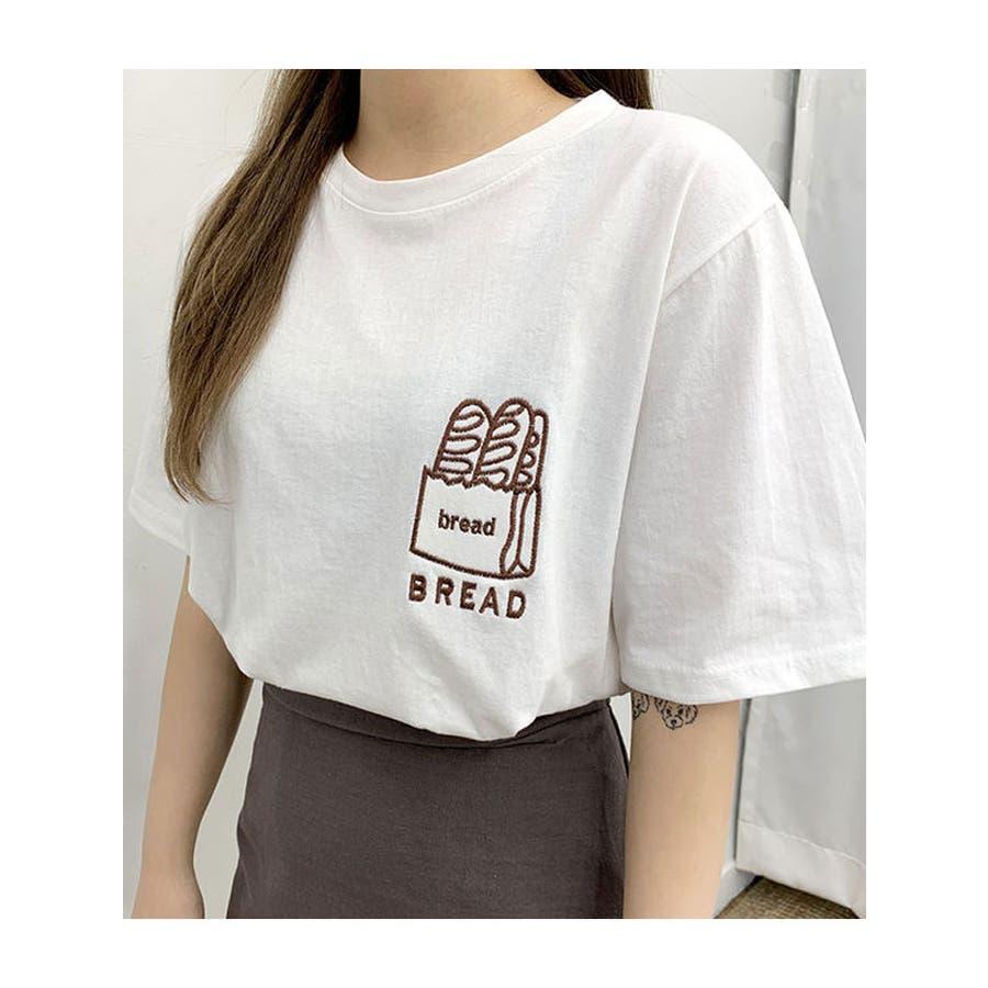 トップス レディース 半袖 刺繍 ロゴtシャツ レディース クルーネック 半袖 トップス レディース 刺しゅうカットソー半袖tシャツレディース tシャツ 韓国 半袖 3