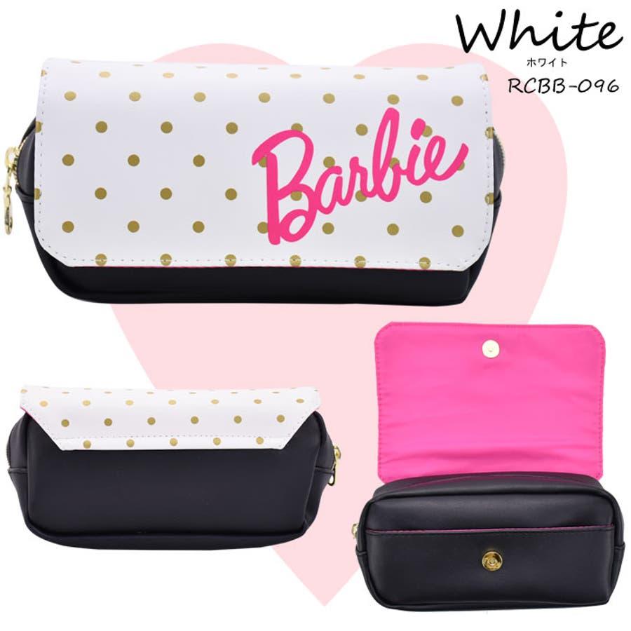 Barbie(バービー) フラップポーチ ペンポーチ コスメポーチ 筆箱 レディース キッズ ジュニア オールシーズンフェイクレザーポケット付 ドット柄 ブラック ホワイト RCBB-095b 8