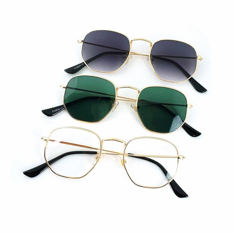 サングラス メンズ レディース ブランド G15 スモーク クリア カラー レンズ おしゃれ UVカット 7JEWELRYヘキサゴナル サングラス 1
