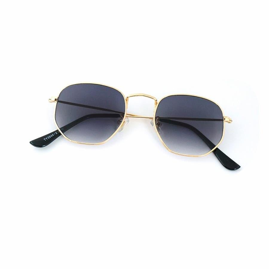 サングラス メンズ レディース ブランド G15 スモーク クリア カラー レンズ おしゃれ UVカット 7JEWELRYヘキサゴナル サングラス 2
