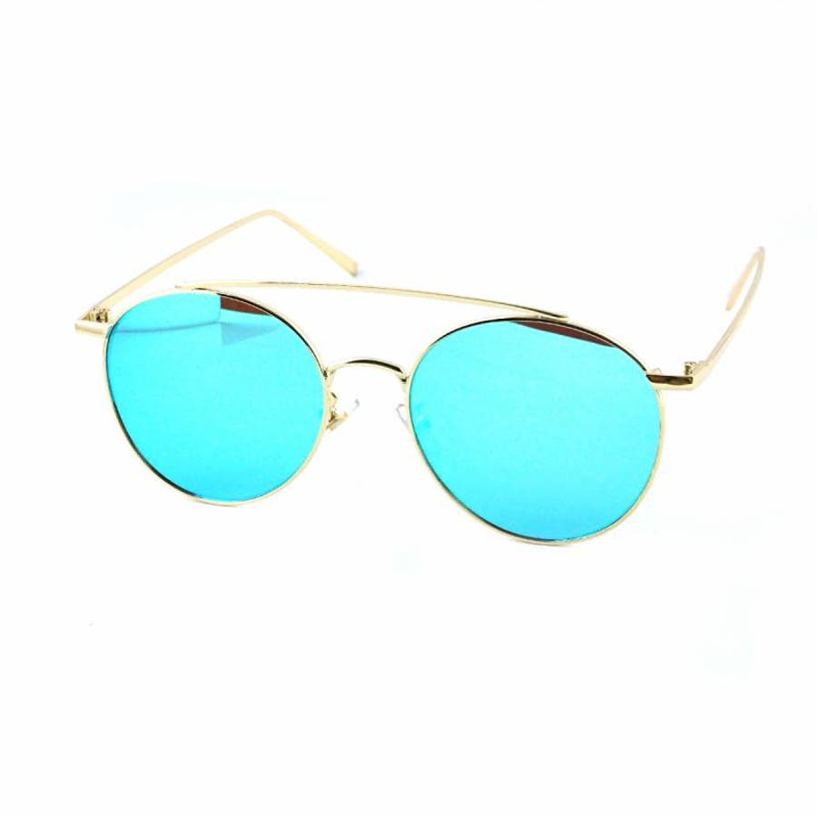7JEWELRY ティアドロップ サングラス グリーン イエロー ブルー オレンジ ピンク ミラー レンズ シルバーフレーム紫外線カット 59