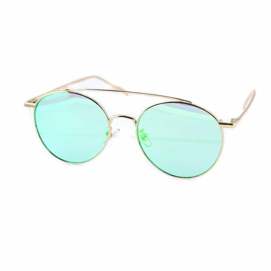 7JEWELRY ティアドロップ サングラス グリーン イエロー ブルー オレンジ ピンク ミラー レンズ シルバーフレーム紫外線カット 47