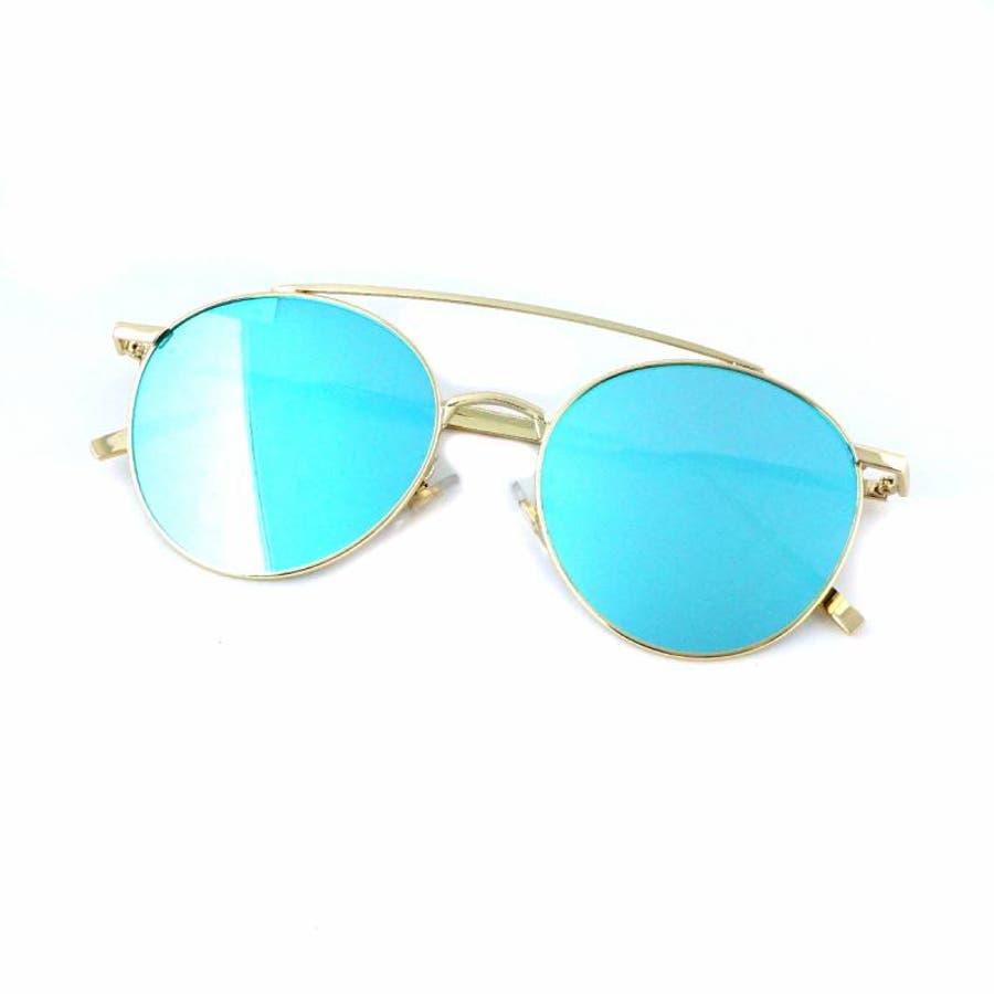 7JEWELRY ティアドロップ サングラス グリーン イエロー ブルー オレンジ ピンク ミラー レンズ シルバーフレーム紫外線カット 9