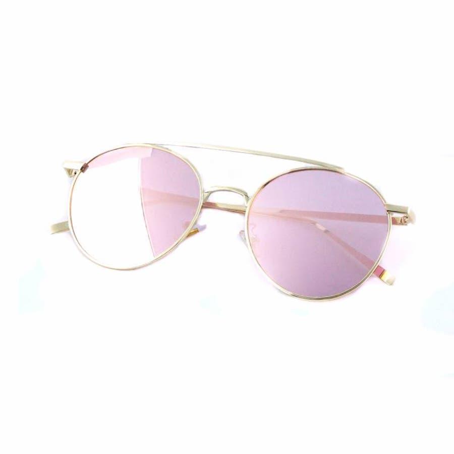 7JEWELRY ティアドロップ サングラス グリーン イエロー ブルー オレンジ ピンク ミラー レンズ シルバーフレーム紫外線カット 10