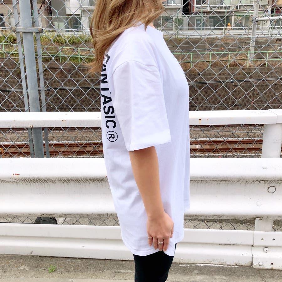 ロゴプリントBIGルーズTシャツ 春 夏 Tシャツ カットソー トップス ロゴ プリント BIG ルーズ オーバー ストリート ダンス スポーツ  3