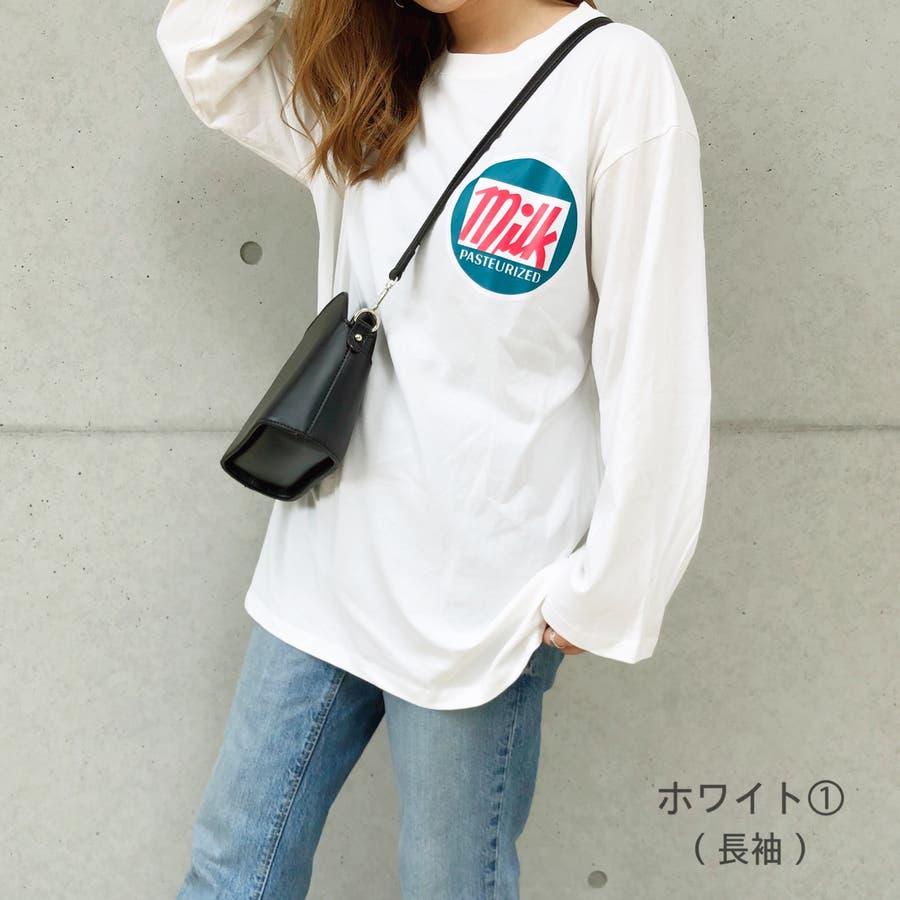 milkプリントルーズTシャツ/ロンT Tシャツ ロンT カットソー トップス 半袖 長袖 ロゴ プリント ルーズ BIG ビッグ オーバー ストリート アメカジ POP ポップ カジュアル   1