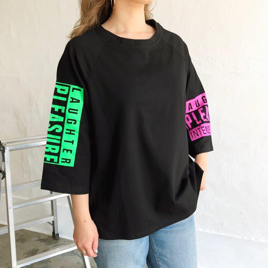 PLEASUREプリントラグランBIGルーズTシャツ 春 夏 Tシャツ カットソー トップス ロゴ プリント アシンメトリー アシメ ラグラン BIG ビッグ ルーズ オーバー ゆったり ストリート ダンス 韓国 カジュアル  5
