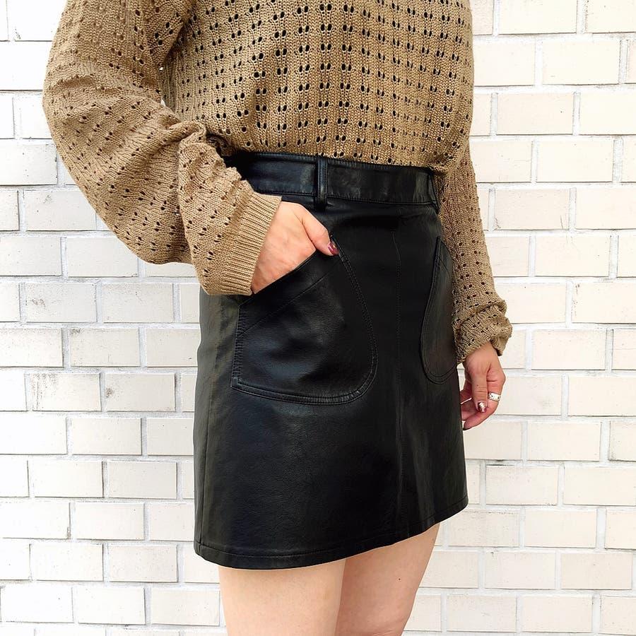 フロントポケット合皮台形ミニスカート スカート ボトムス 5