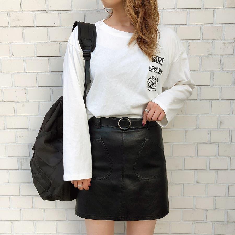 フロントポケット合皮台形ミニスカート スカート ボトムス 6