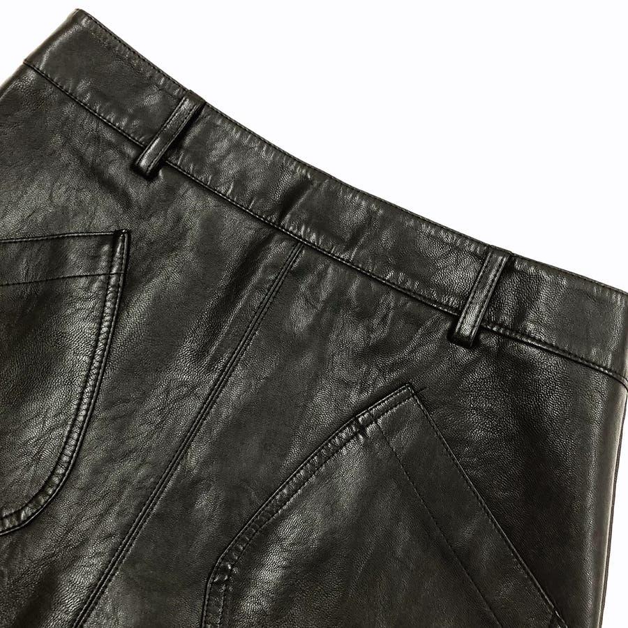 フロントポケット合皮台形ミニスカート スカート ボトムス 7