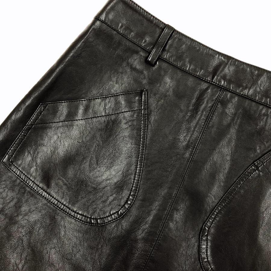 フロントポケット合皮台形ミニスカート スカート ボトムス 8