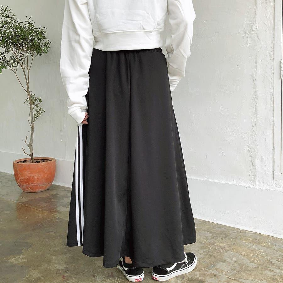 ウエストゴムサイドラインロングスカート スカート ボトムス 4