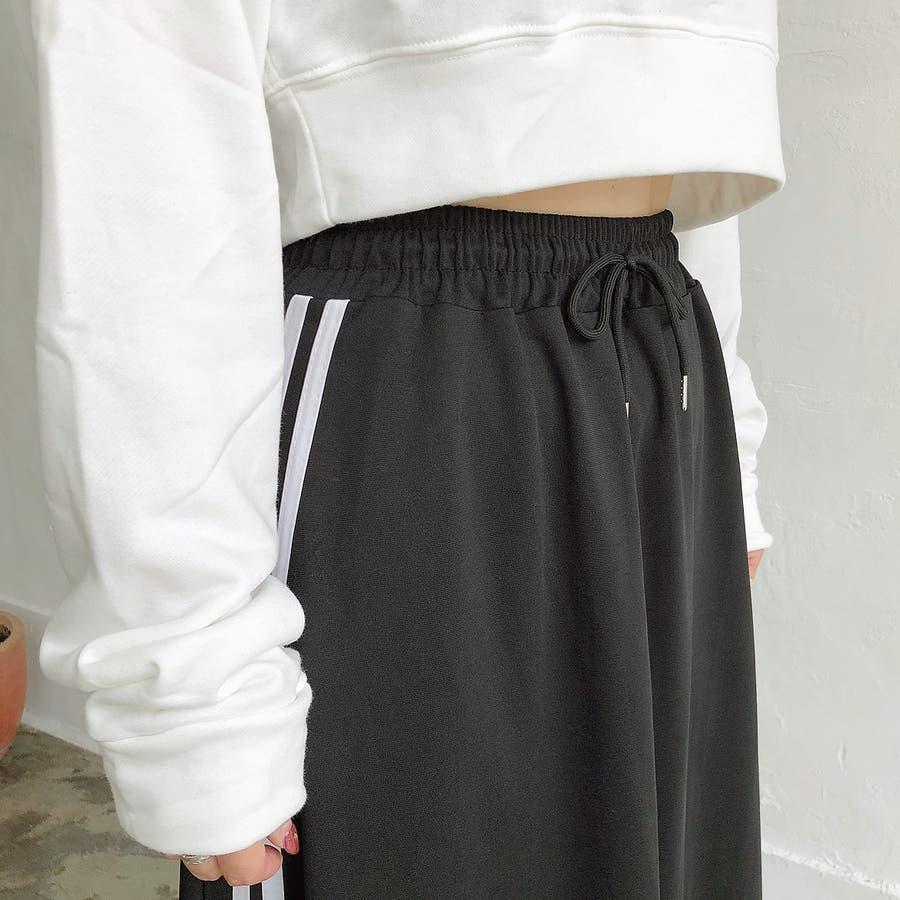 ウエストゴムサイドラインロングスカート スカート ボトムス 5